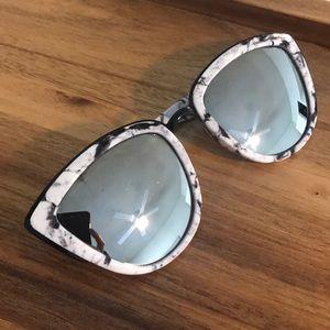 Quay white marble mirrored cat eye sunglasses